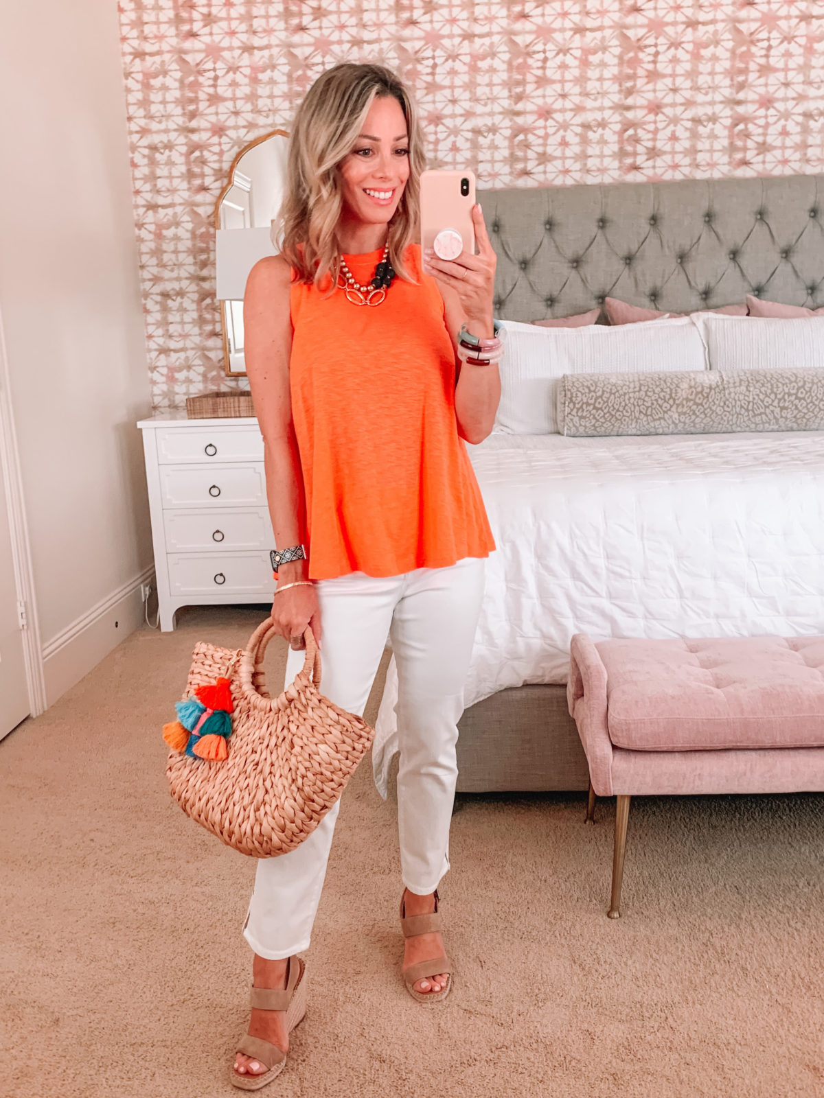 Dressing Room Finds, Orange Tank and White Jeans, Woven Tote and Tassel