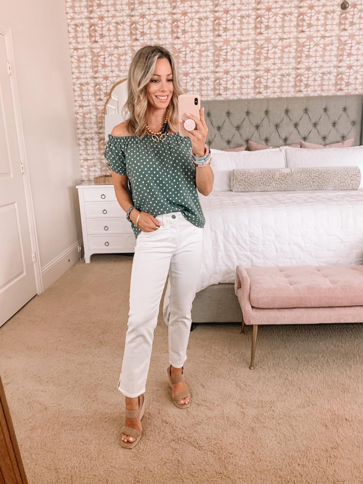 Dressing Room Finds, Polka Dot Off the Shoulder Top, White Jeans, Wedges