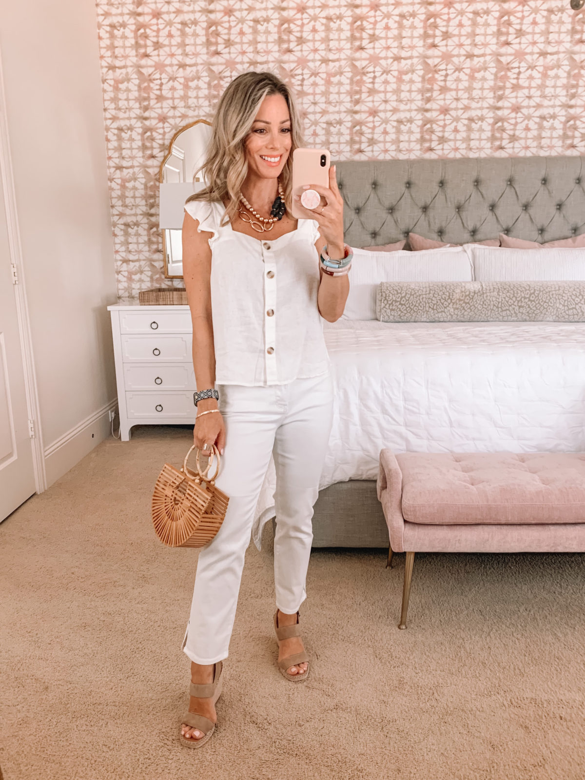 Dressing Room Finds, White Ruffle Sleeve Tank, White Jeans, Wedges, Bamboo Clutch