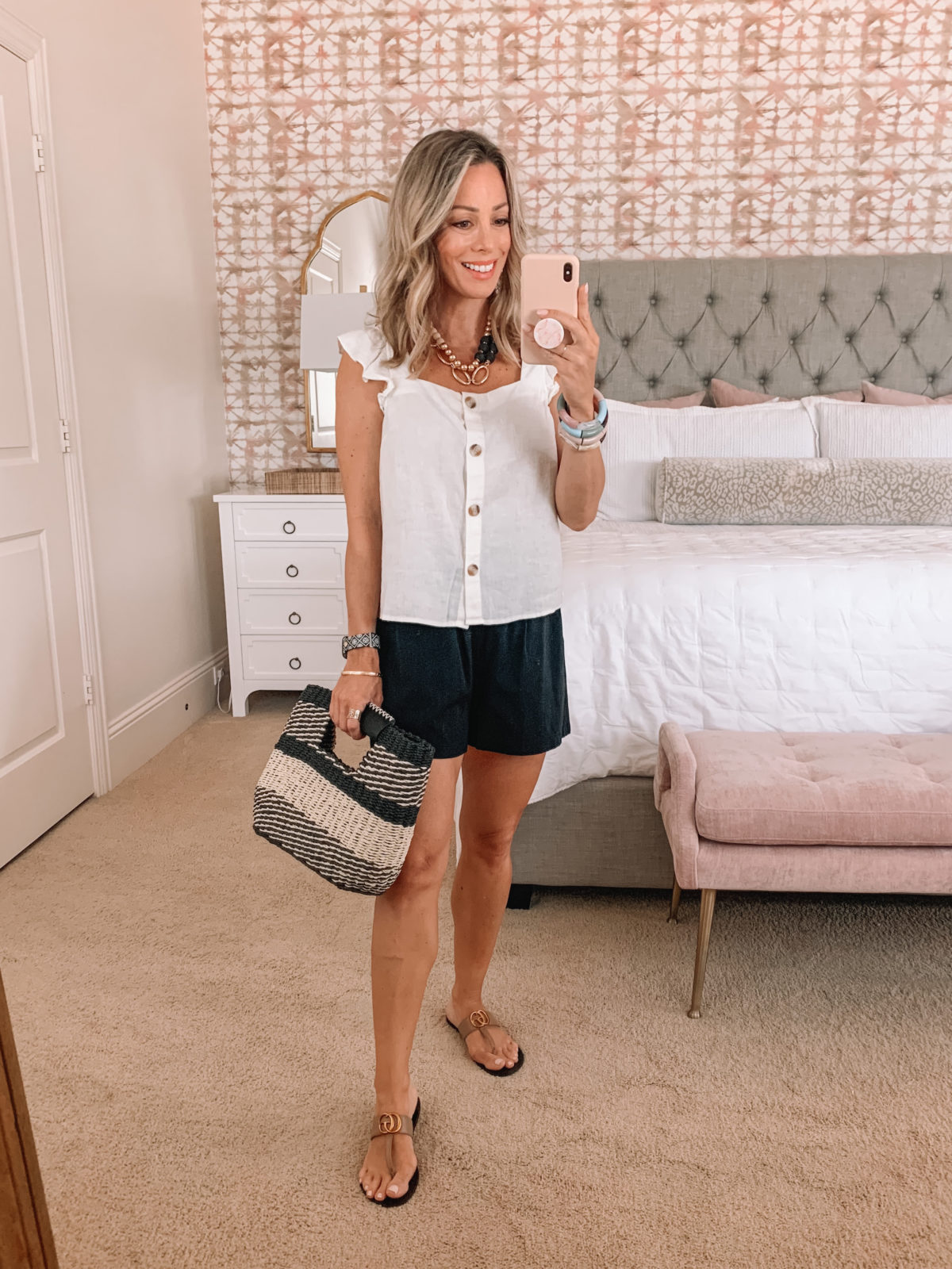 Dressing Room Finds, White Ruffle Sleeve Tank, Black Knit shorts, Sandals, Tote