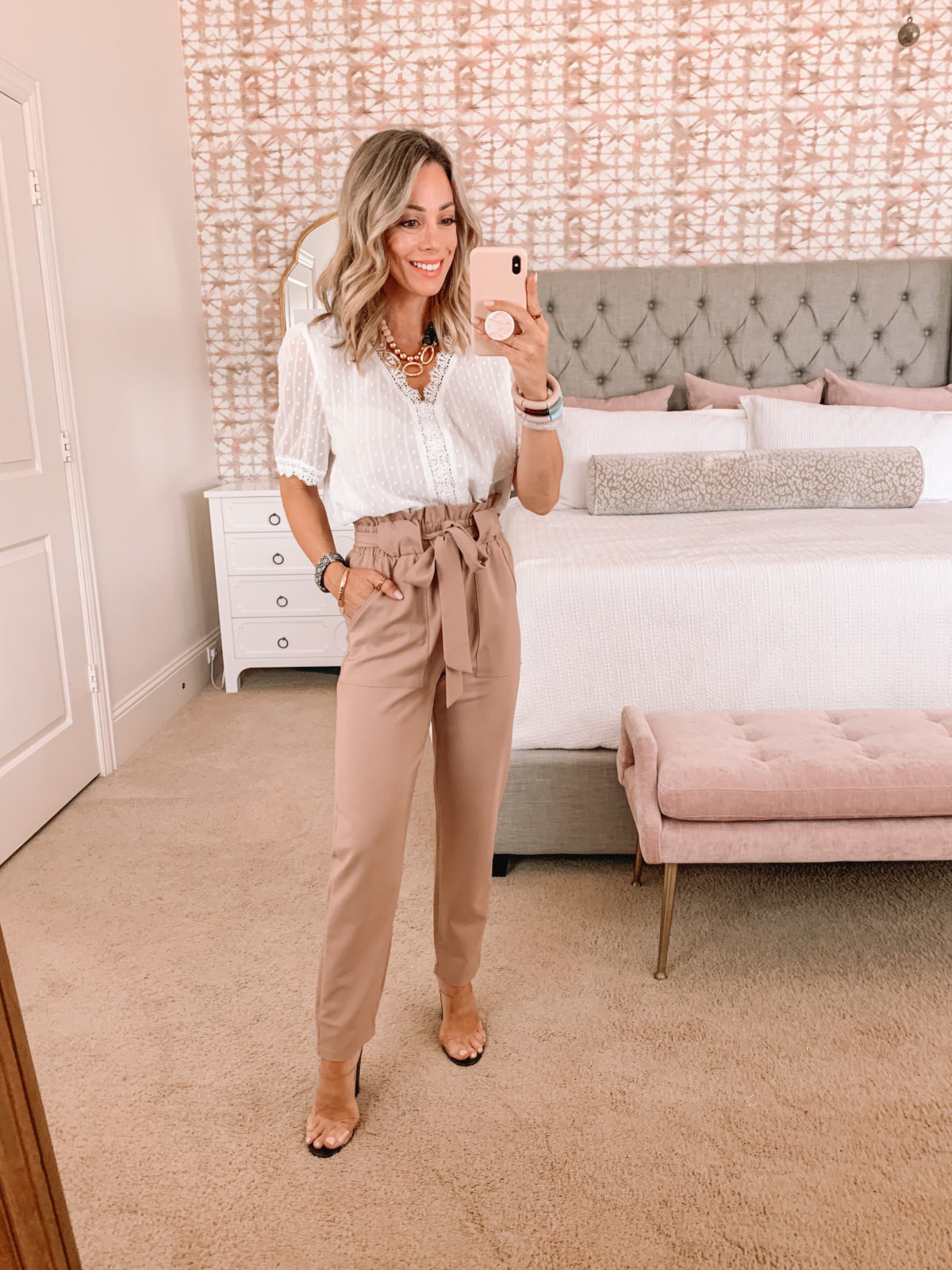 Amazon Fashion Faves, Lace Top and Paperbag Waist Pants with Clear Heels