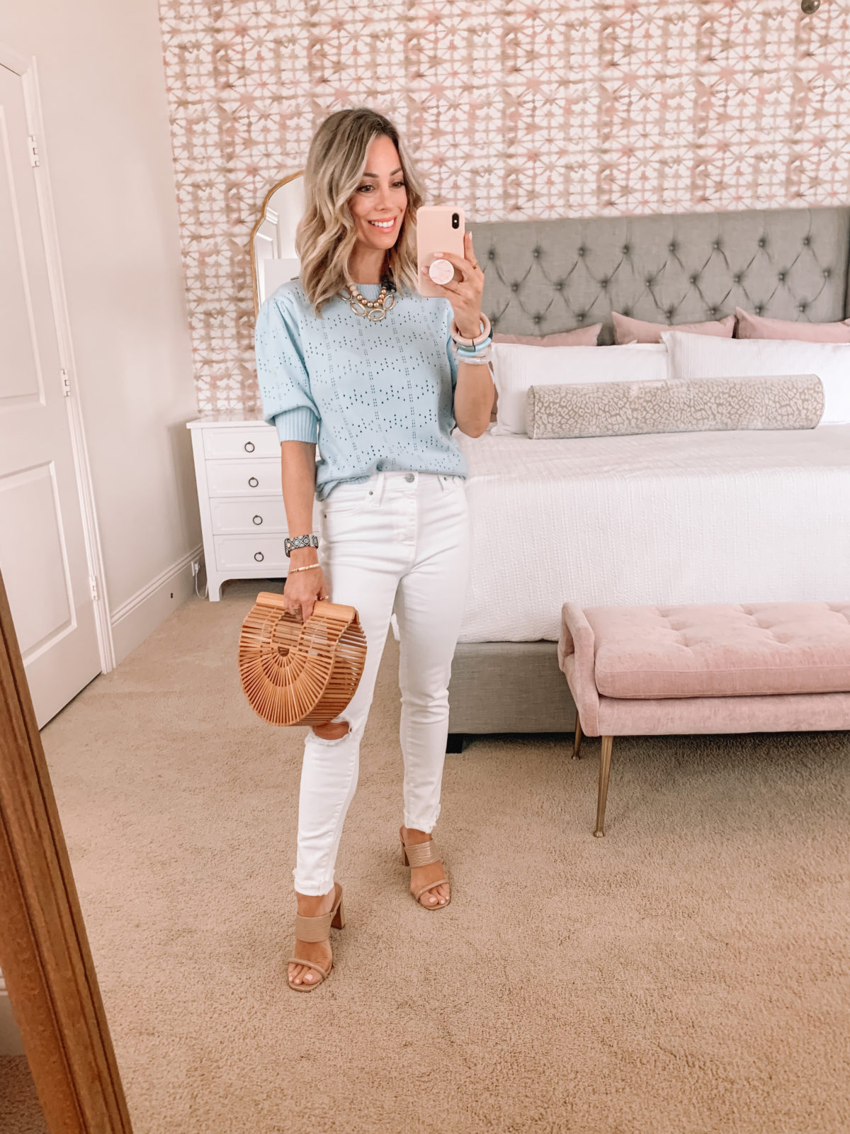Amazon Fashion Faves, Blue Sweater Short Sleeved, Jeans, Bamboo Clutch