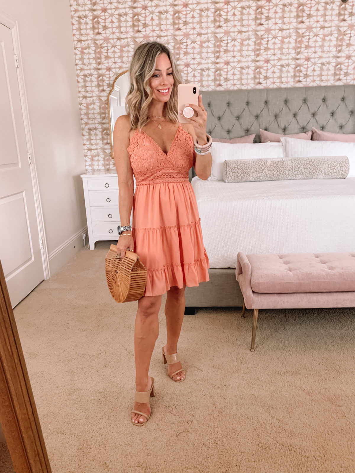 Amazon Fashion Faves, Pink Lace Overaly Dress and Sandals with Bamboo Bag