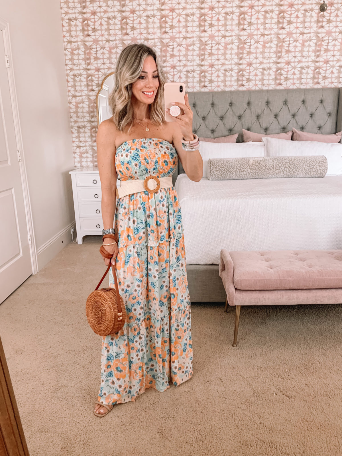 Amazon Fashion Faves, Floral Maxi Dress and Woven belt with circle Crossbody