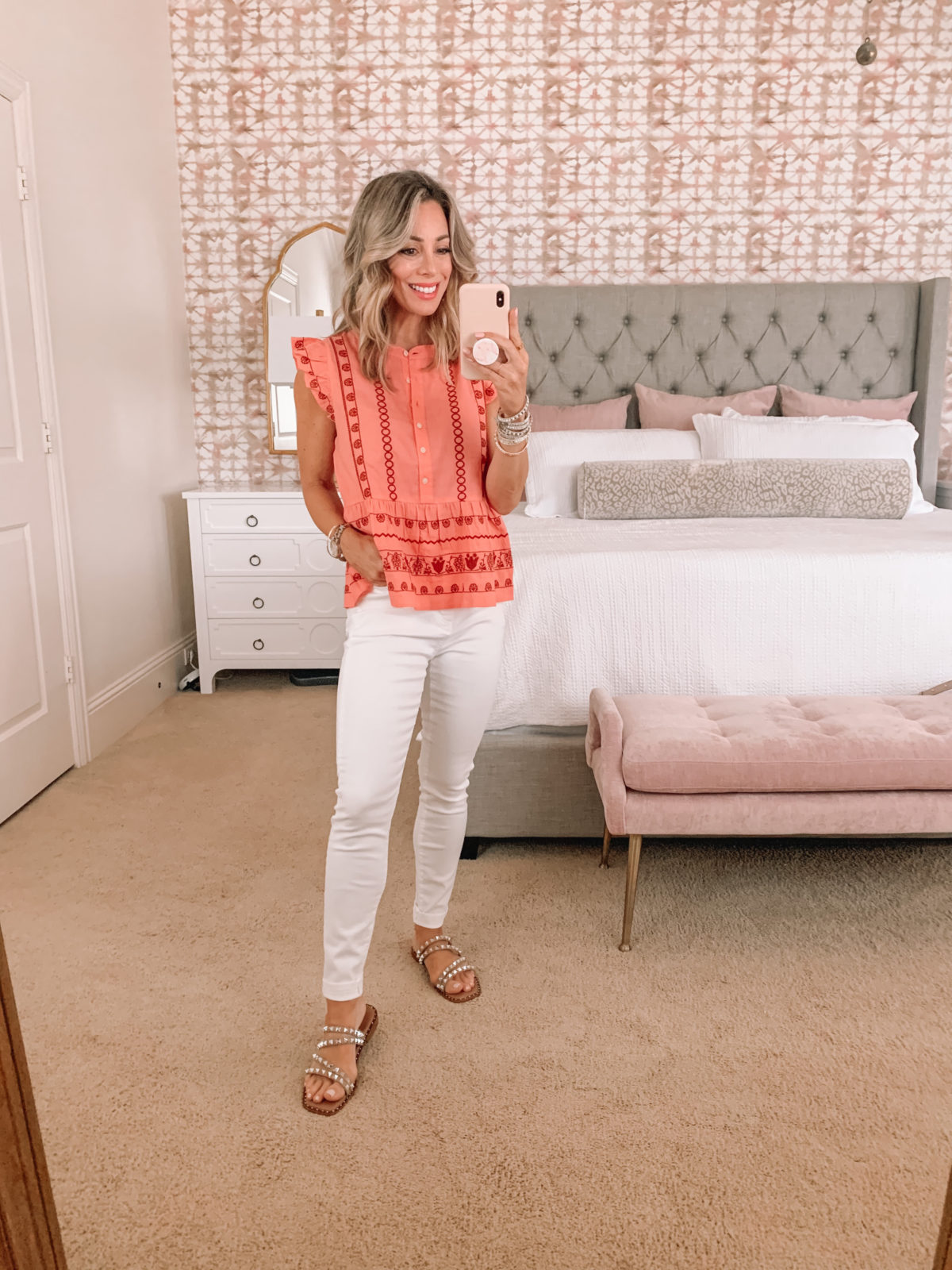 Dressing Room finds, LOFT, Embroidered Ruffle Sleeve Top and White Jeans with Studded Sandals