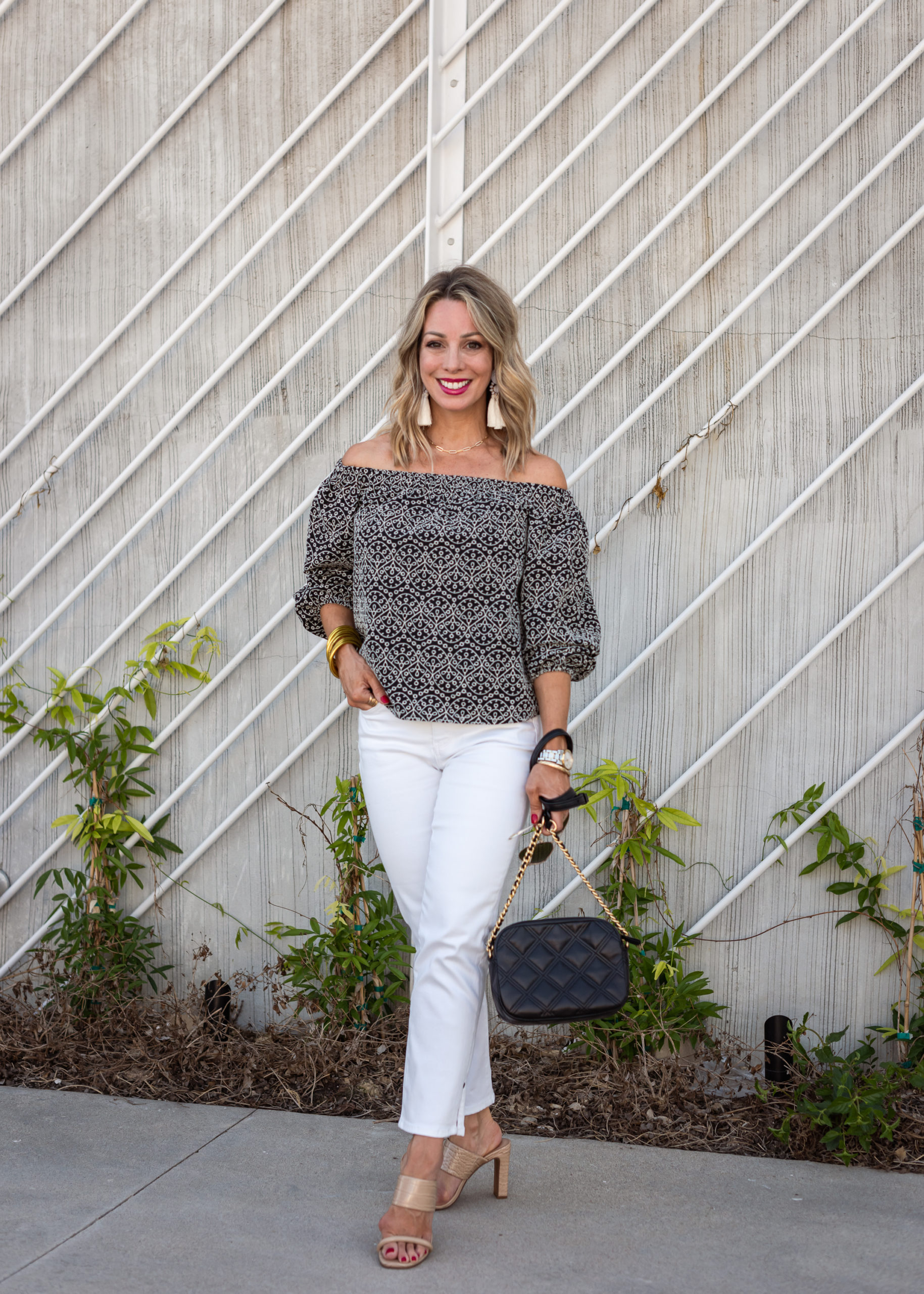 Off the Shoulder Top and White Jeans with Sandals and Crossbody Bag