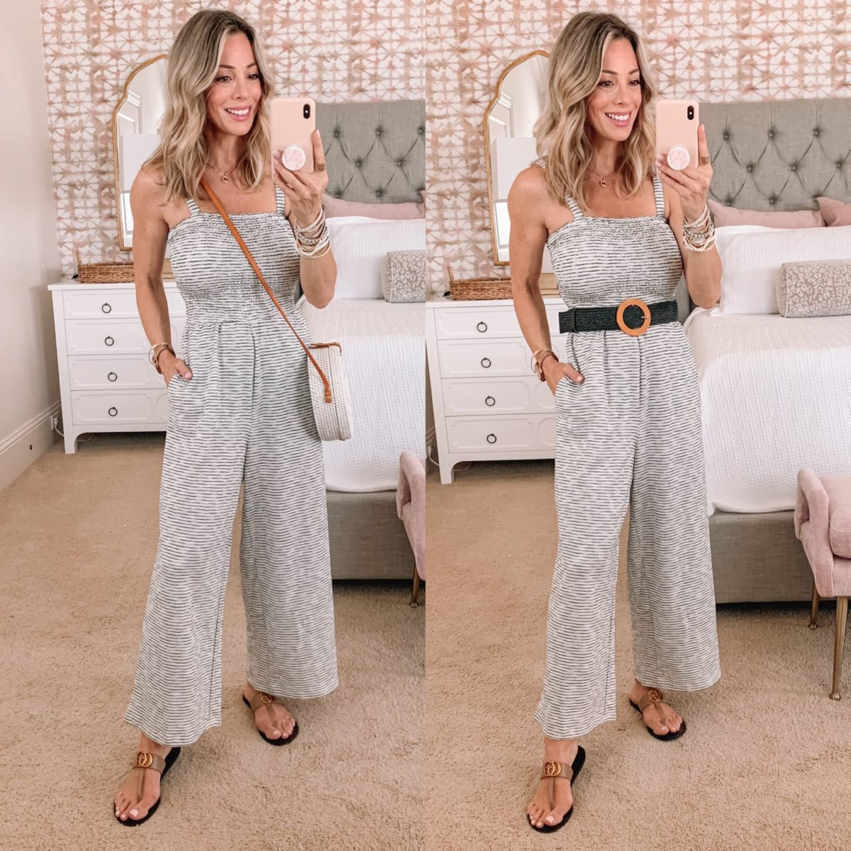 Dressing Room Finds, Jumpsuit and Sandals with Crossbody