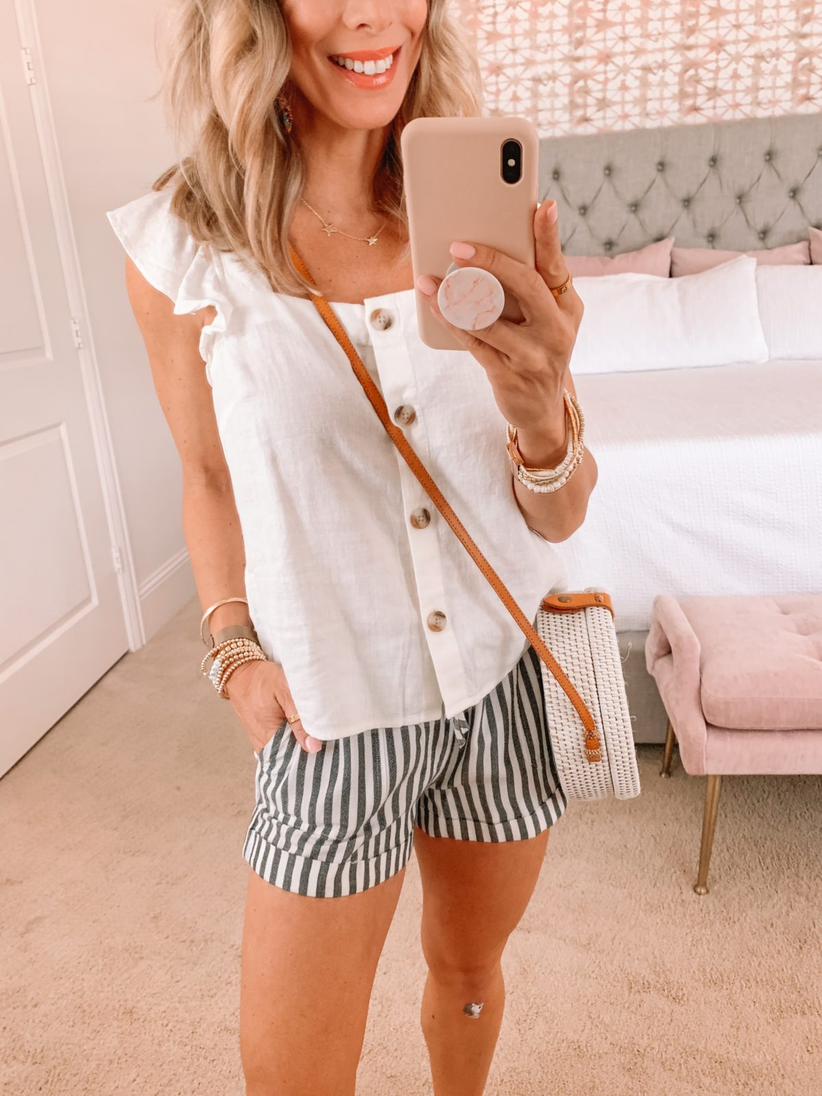 Dressing Room, Button Down Ruffle Sleeve Tank, Striped Shorts, Studded Sandals and Crossbody