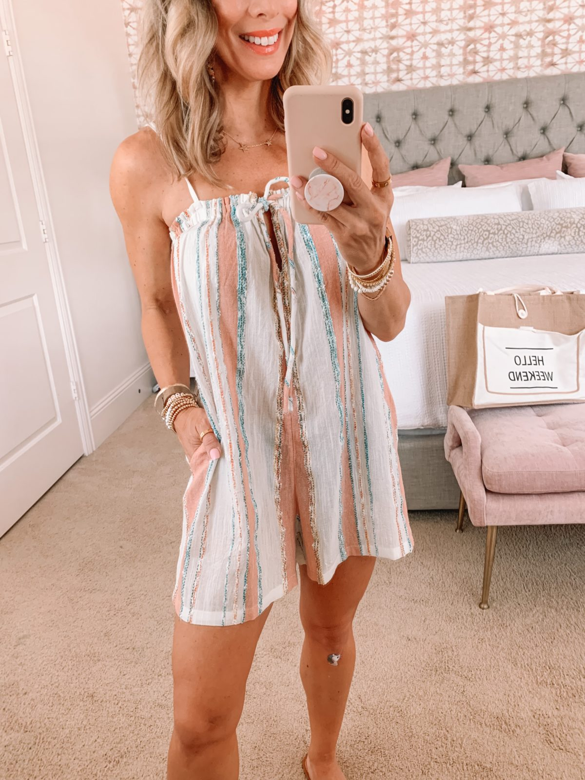 Dressing Room Finds, Striped CoverUP, Sandals, Weekend Tote