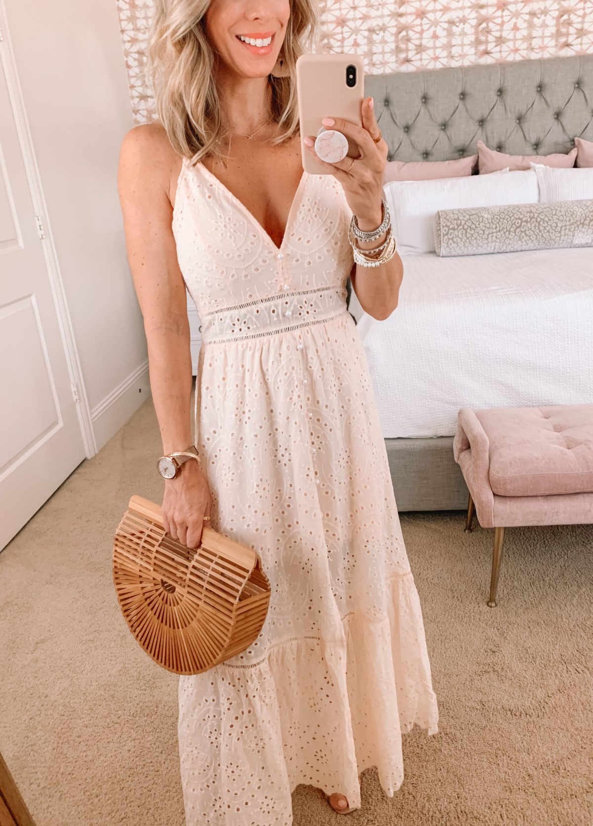 Amazon Fashion Faves, Pink Eyelet Maxi Dress, Bamboo Clutch and Sandals