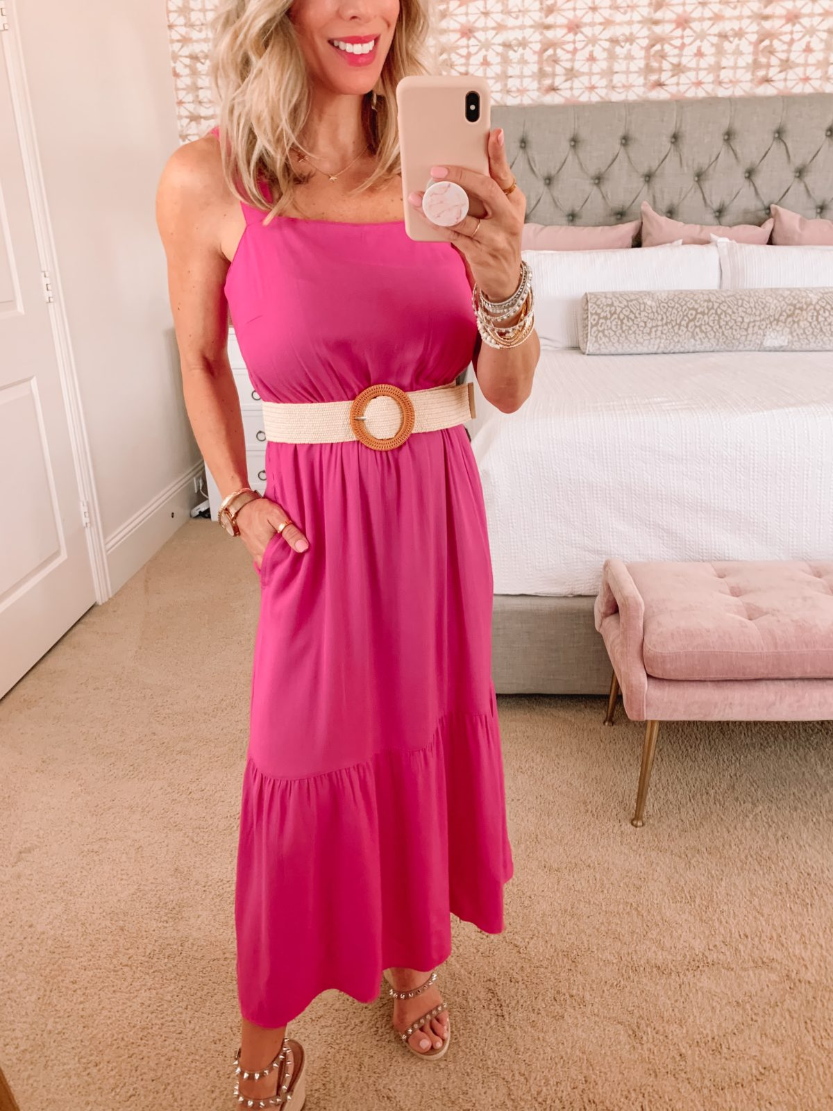 Amazon Fashion Faves, Pink maxi Dress, Studded Wedges and Woven Belt