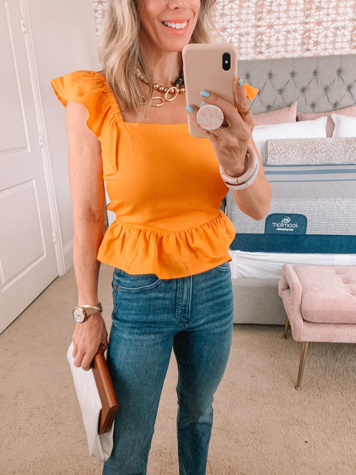 Dressing Room Finds, Express, Yellow Ruffle Sleeve Top, Jeans, Sandals, Clutch