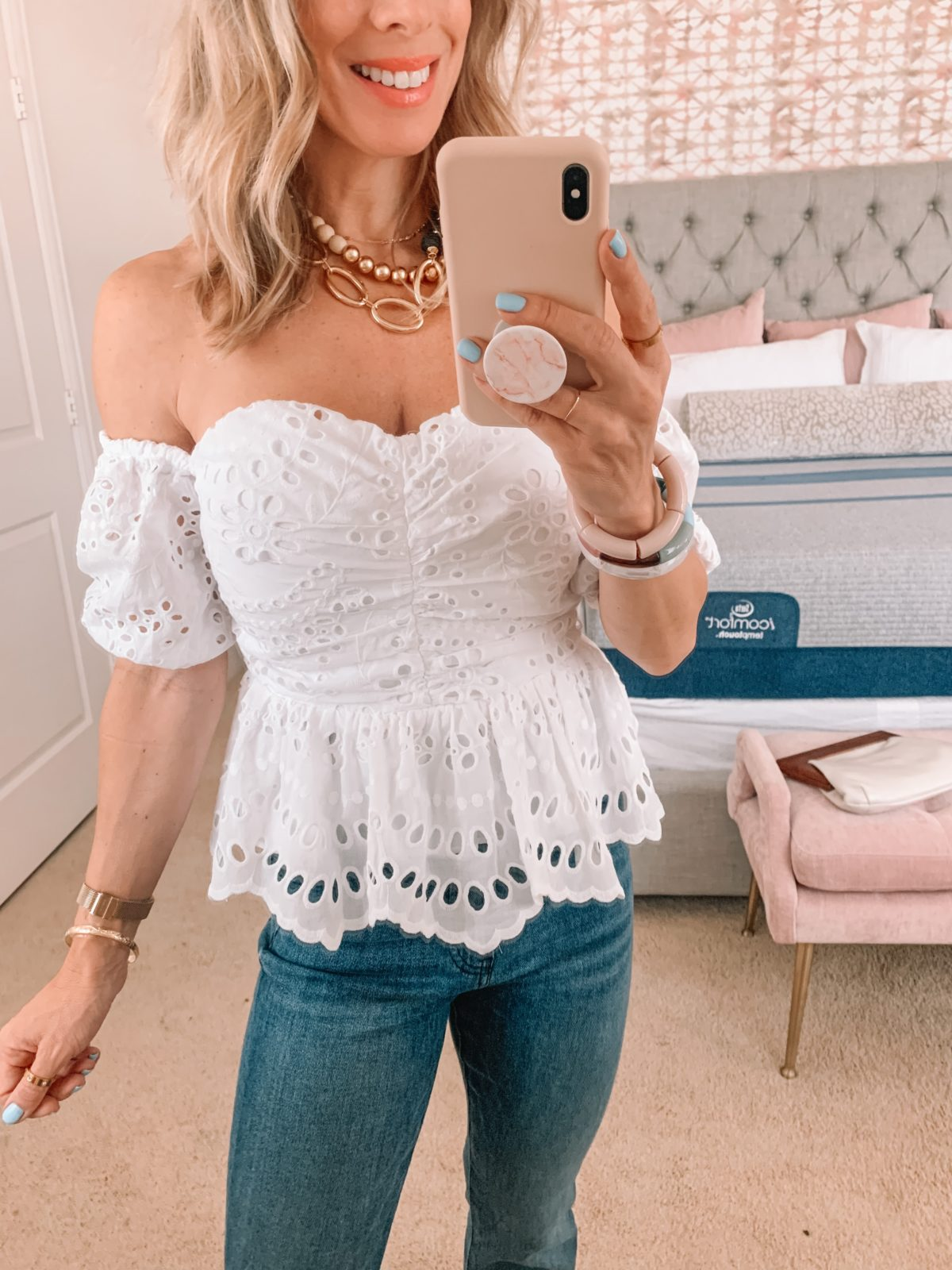 Dressing Room Finds, Eyelet Off the Shoulder Top and Jeans with Sandals