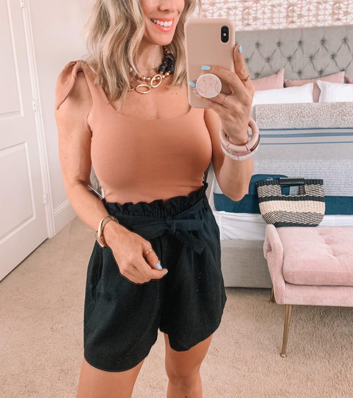 Dressing Room Finds, Walmart, Express, Bodysuit, Paper bag Waist Shorts