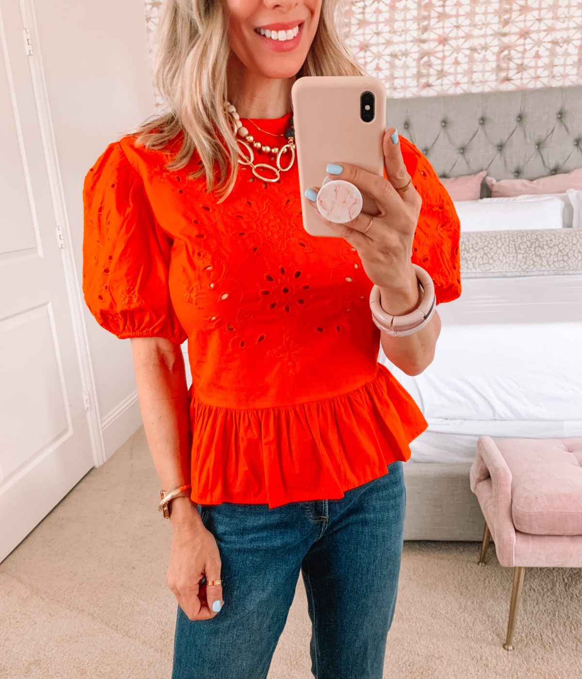 Dressing Room Finds, Express, Red Eyelet Top, Wide Leg Jeans and Sandals