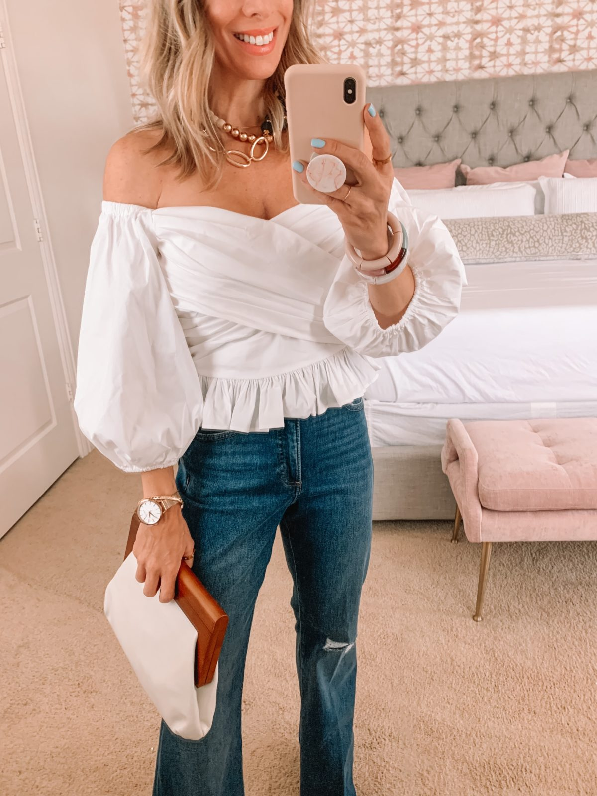 Dressing Room Finds, Wrap Top, Jeans, Clutch, Sandals
