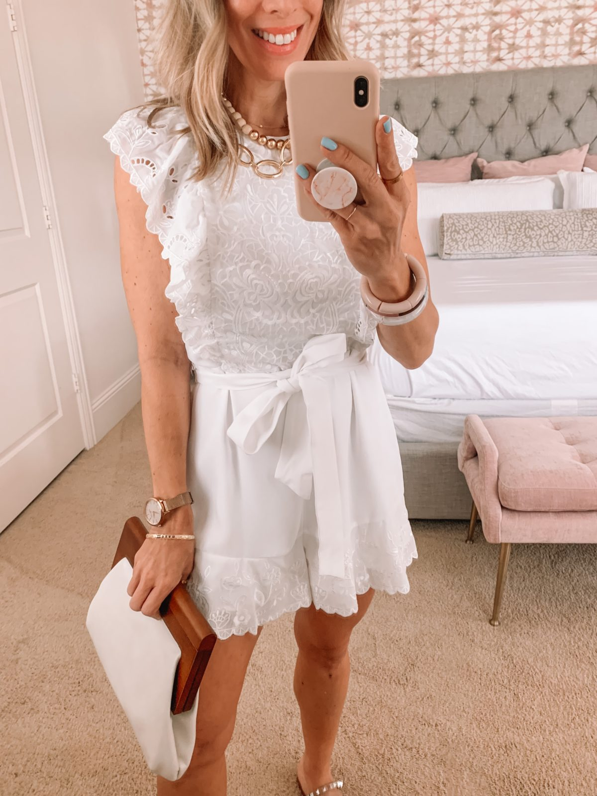 Dressing Room Finds, Shorts Rompers and Studded Sandals, Clutch