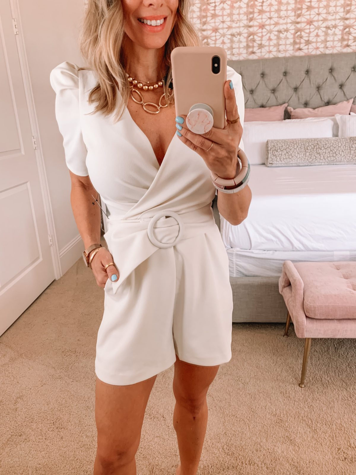 Dressing Room Finds, White Belted Shorts Romper and sandals