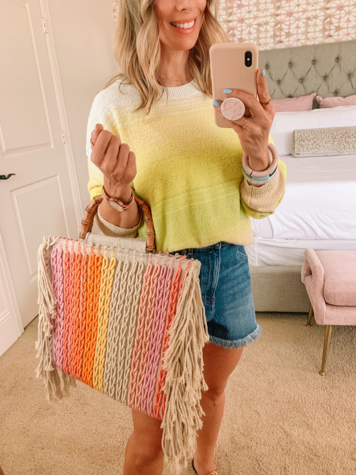 Dressing Room Finds, Walmart, Yellow Sweater, Shorts, Sandals, Rainbow Tote