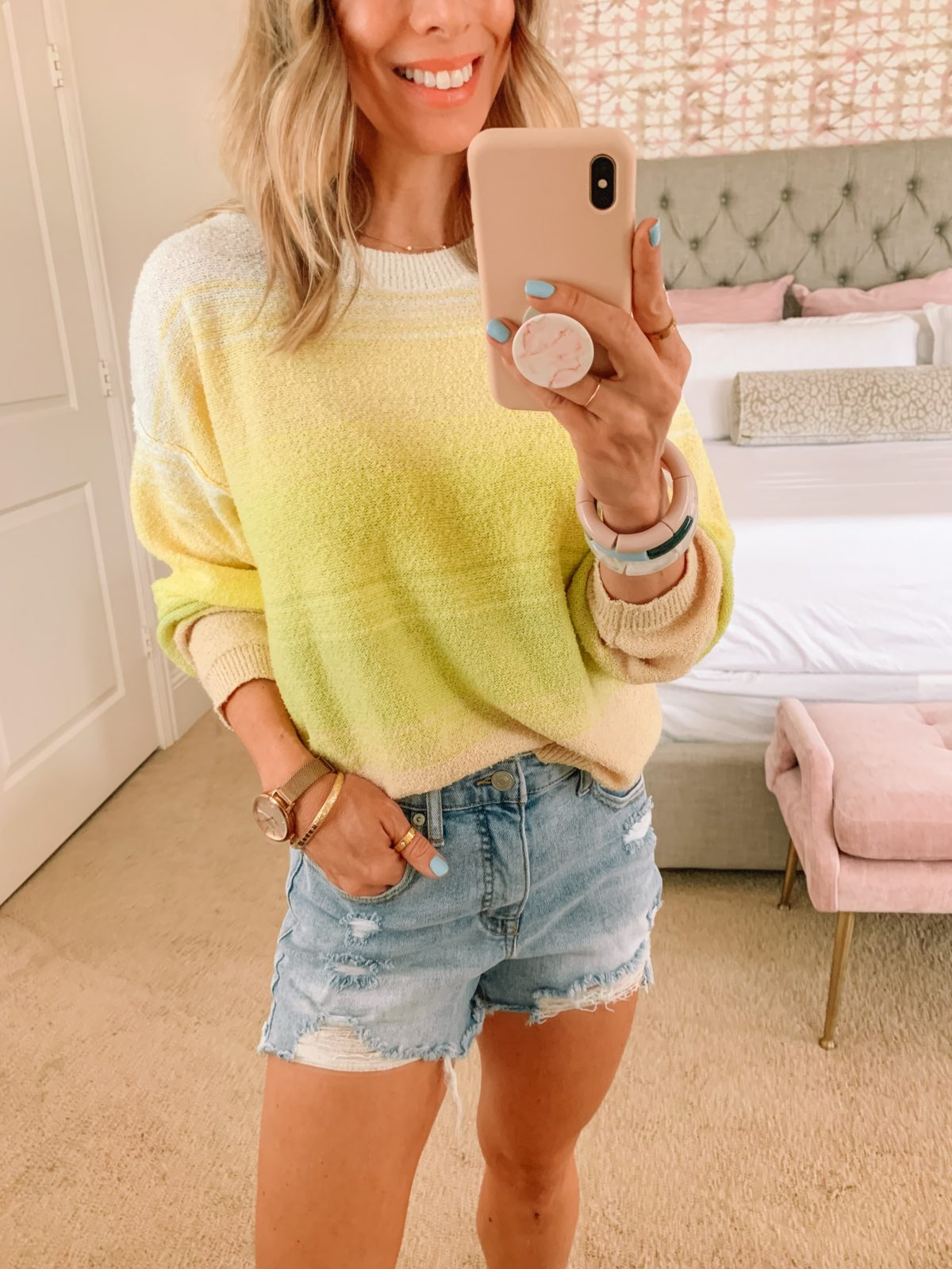 Dressing Room Finds, Walmart, Yellow Sweater, Shorts, Sandals