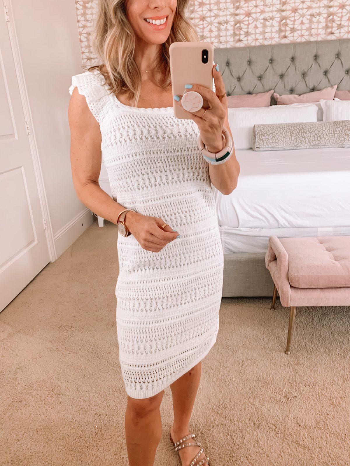 Dressing Room Finds, Walmart, Crochet Dress, Studded Sandals