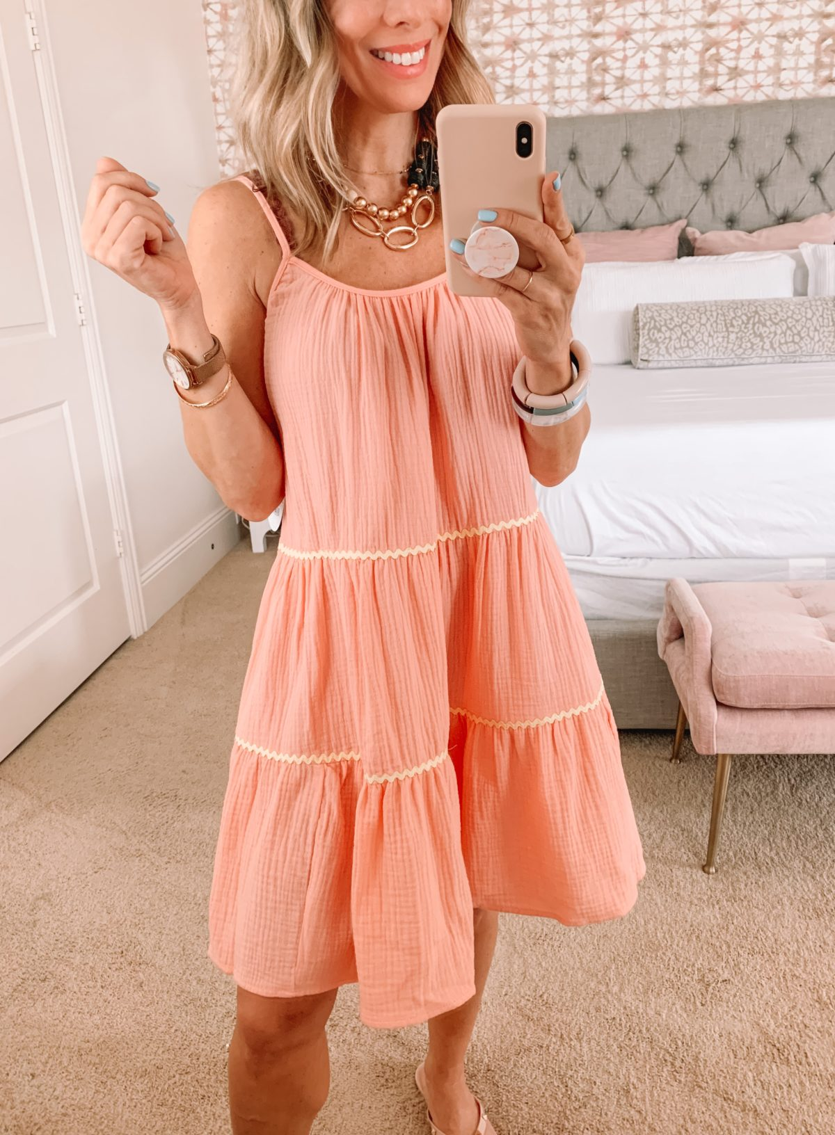 Dressing Room Finds, Orange Tiered Dress, Bow Sandals