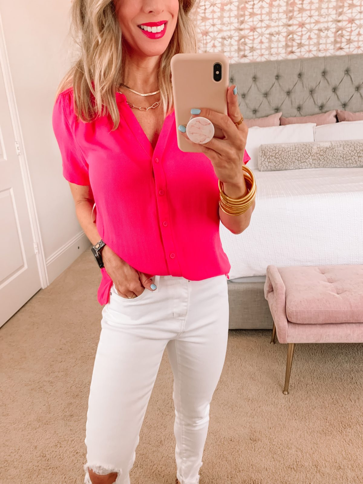 Amazon Fashion Faves, Pink Button Down top, White Jeans and studded Slides