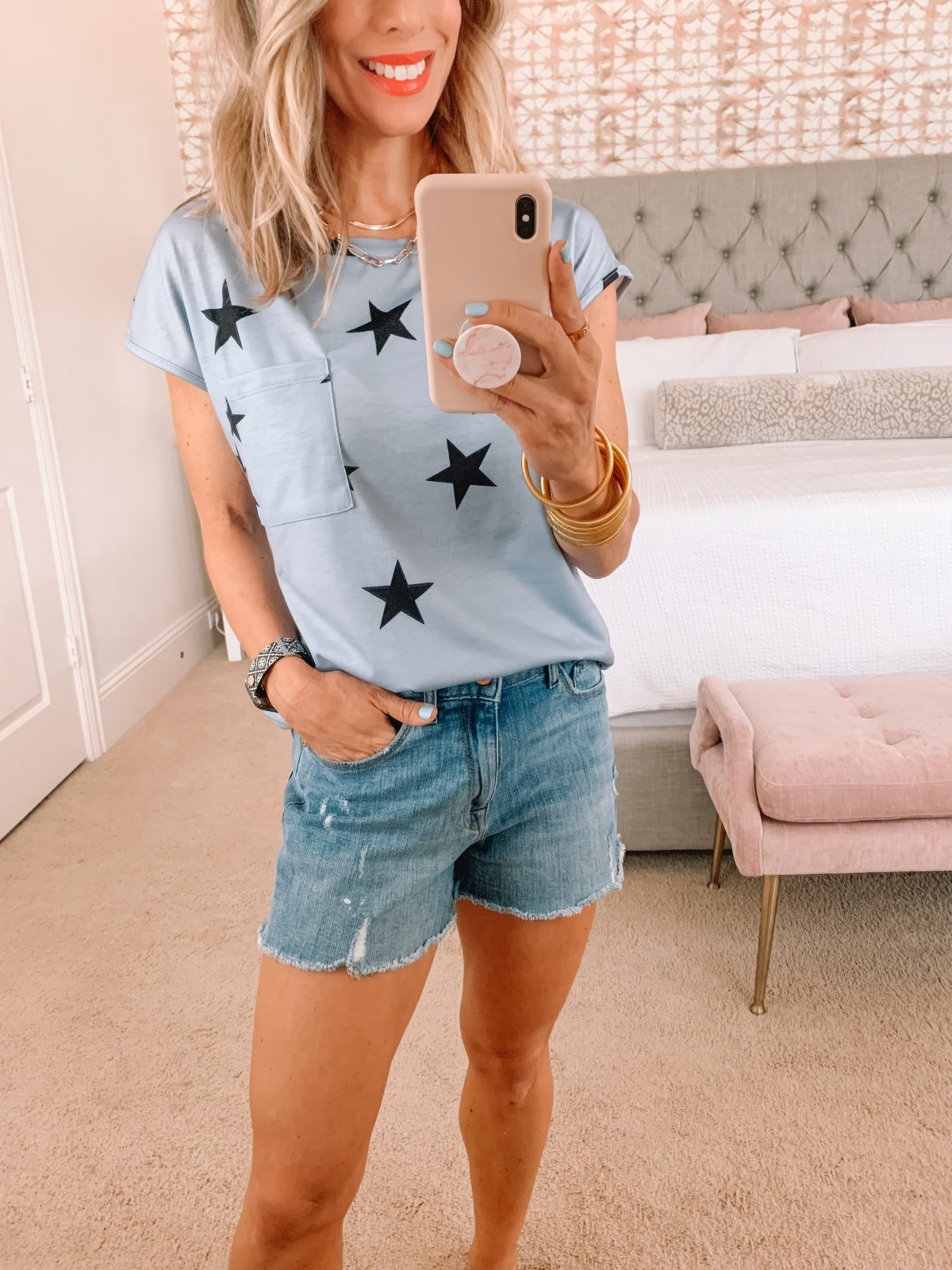 Amazon Fashion Faves, Star Tee and Denim Shorts with Kell Parker Sandals