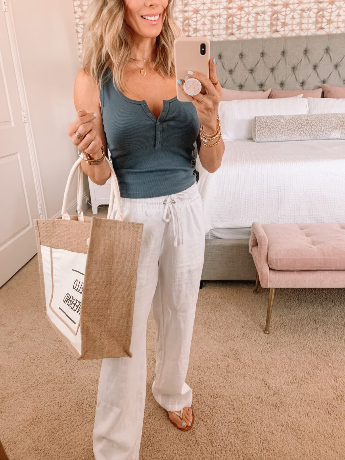Dressing Room Finds Henley Tank, White Pants Weekend Tote