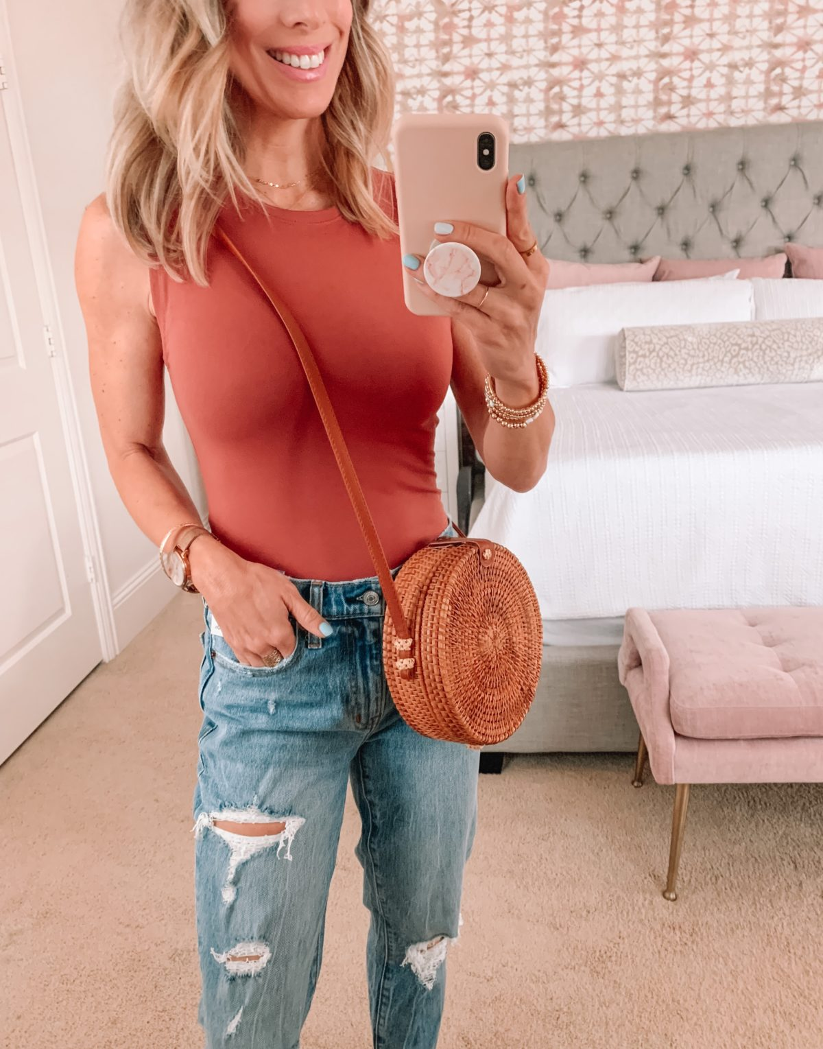 Dressing Room Finds, Crew Neck Bodysuit, Jeans, Wedges and Circle Crossbody