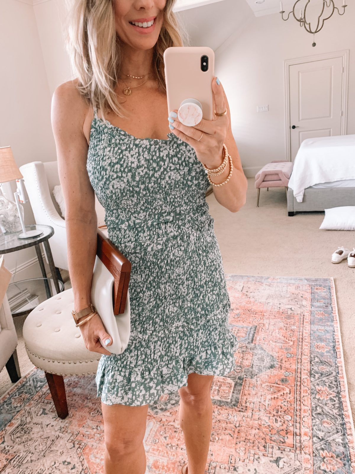 Dressing Room Finds, Floral Mini Dress and Clutch with Sandals