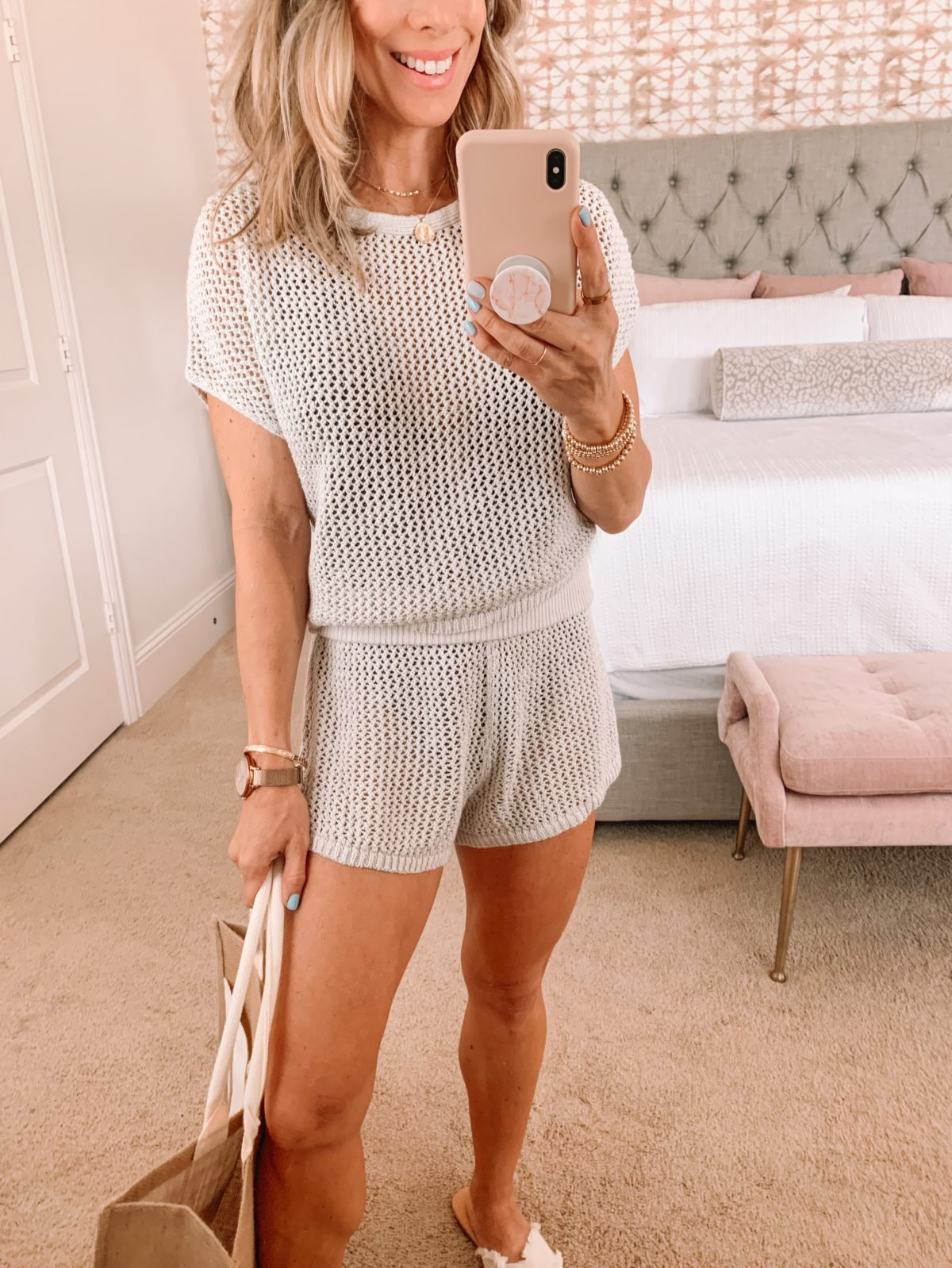 Dressing Room Finds, Crochet Swim Cover Up top and Shorts