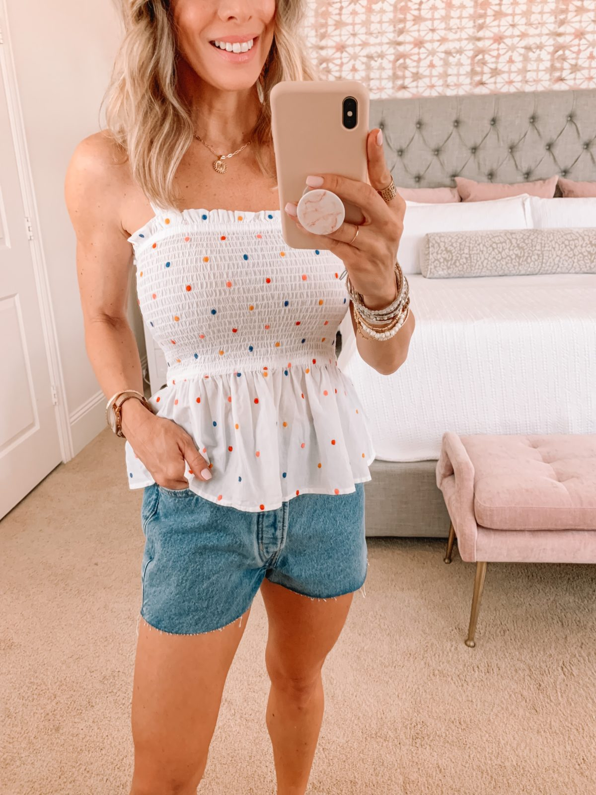 Dressing Room Finds, LOFT, Polka Dot Peplum top and shorts with sandals