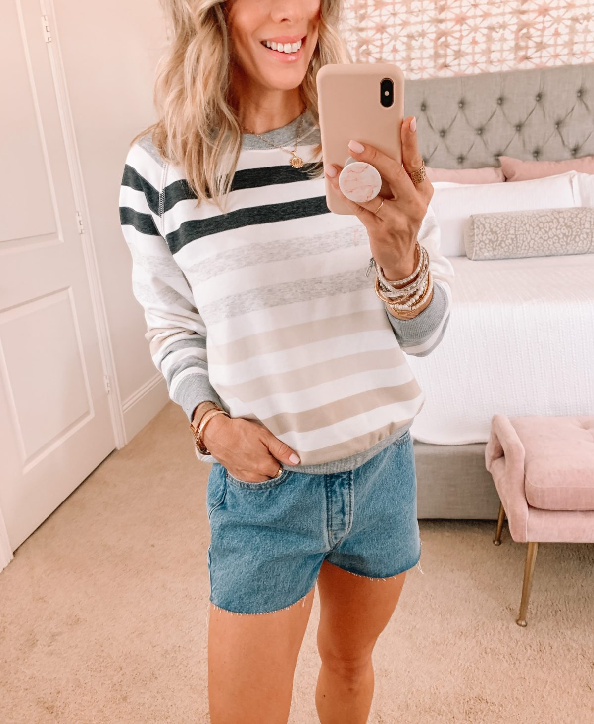 Dressing Room Finds, Stripe Sweatshirt and Shorts with Flip Flops