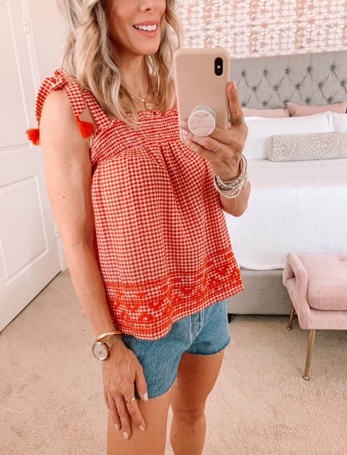 Dressing Room Finds, LOFT, Gingham Swing Tank and Denim Shorts with Sandals