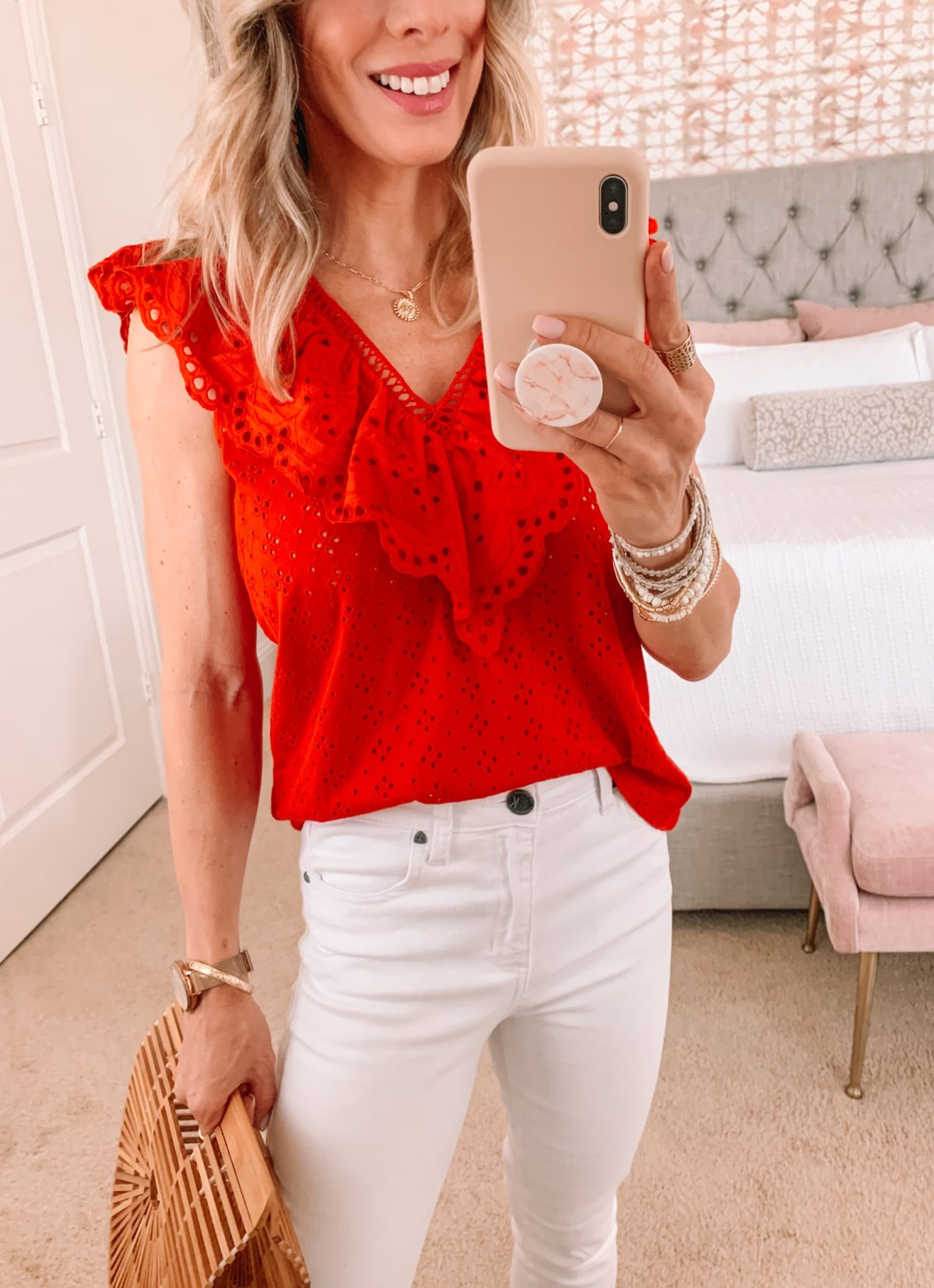 Dressing Room Finds, Eyelet Top and Jeans with Sandals and Clutch