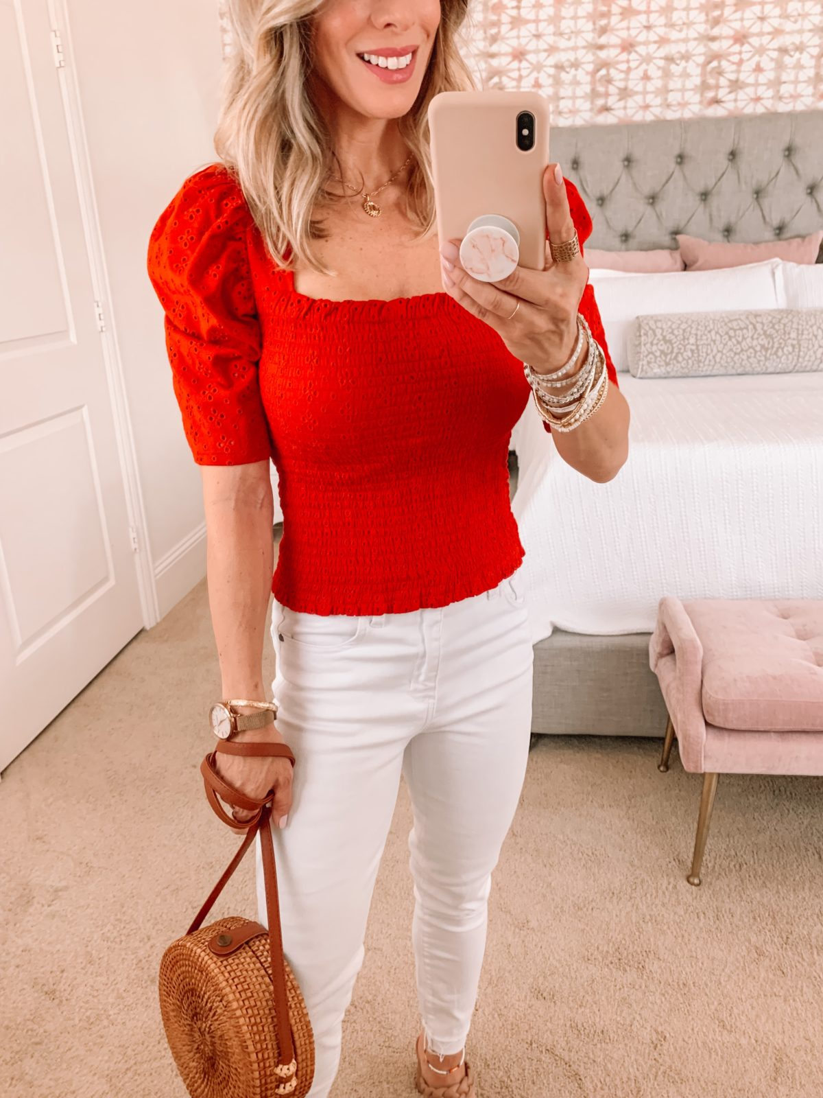 Dressing Room Finds, Smocked Red Top and White Jeans with Sandals and Crossbody