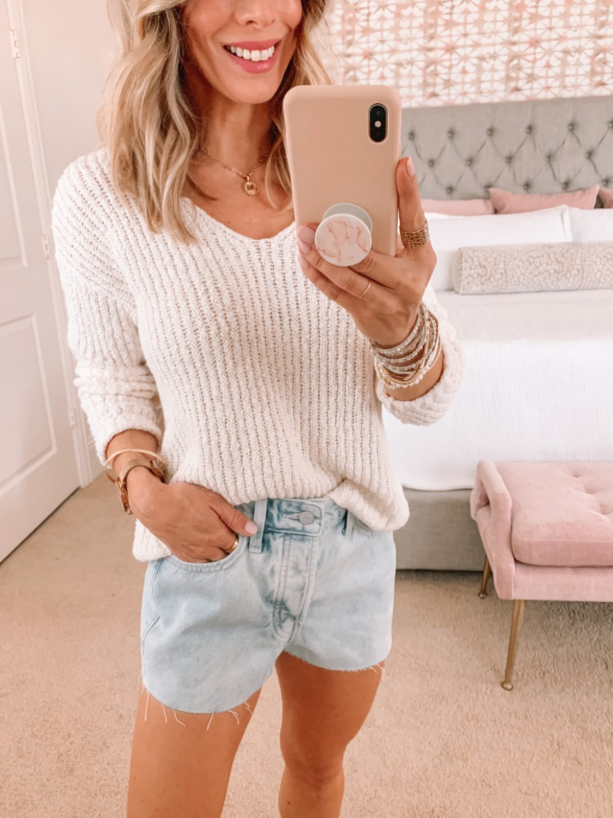 Dressing Room Finds, Summer Sweater and Denim Shorts with Sandals
