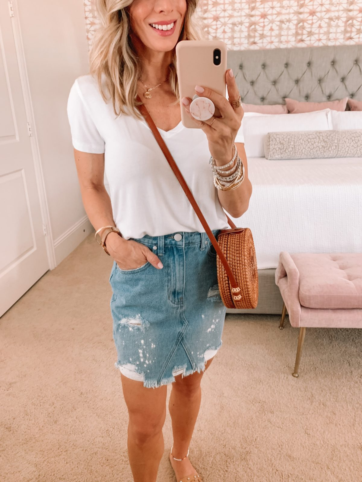 Dressing Room Finds, Tee and Denim Skirt with Crossbody and sandals