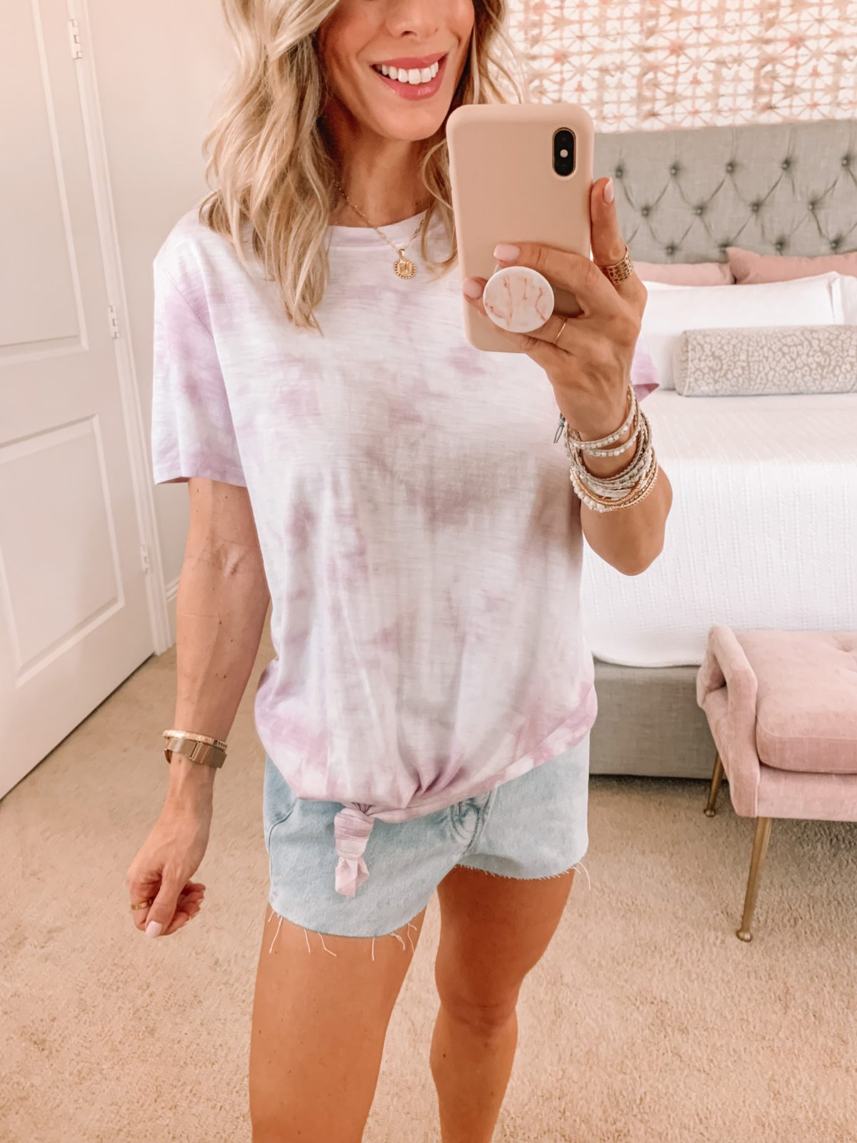 Dressing Room Finds, Tie Dye Tee and Shorts with Sandals