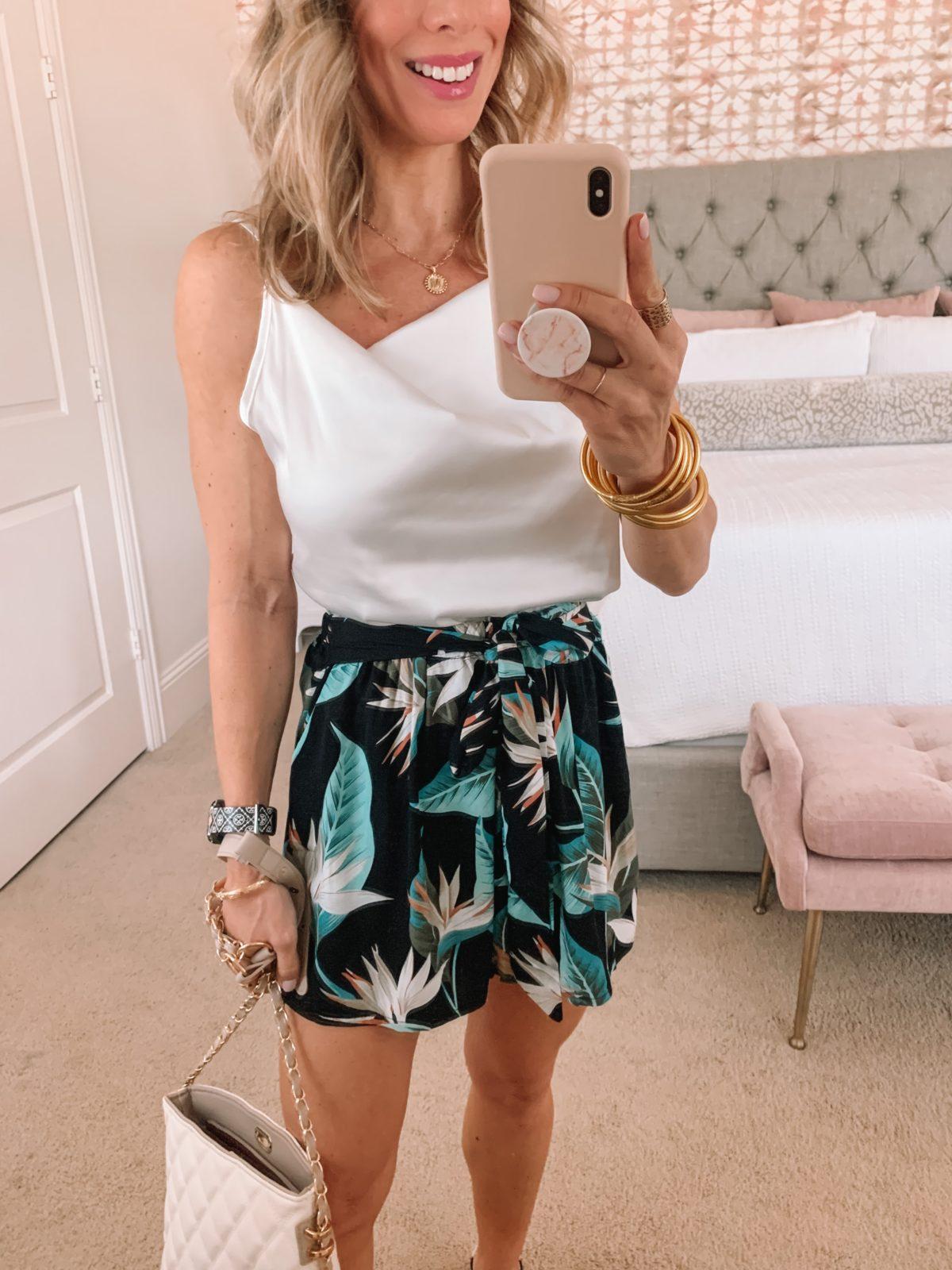 Amazon Fashion Faves, White Cami, Island Print Shorts, Sandals and crossbody