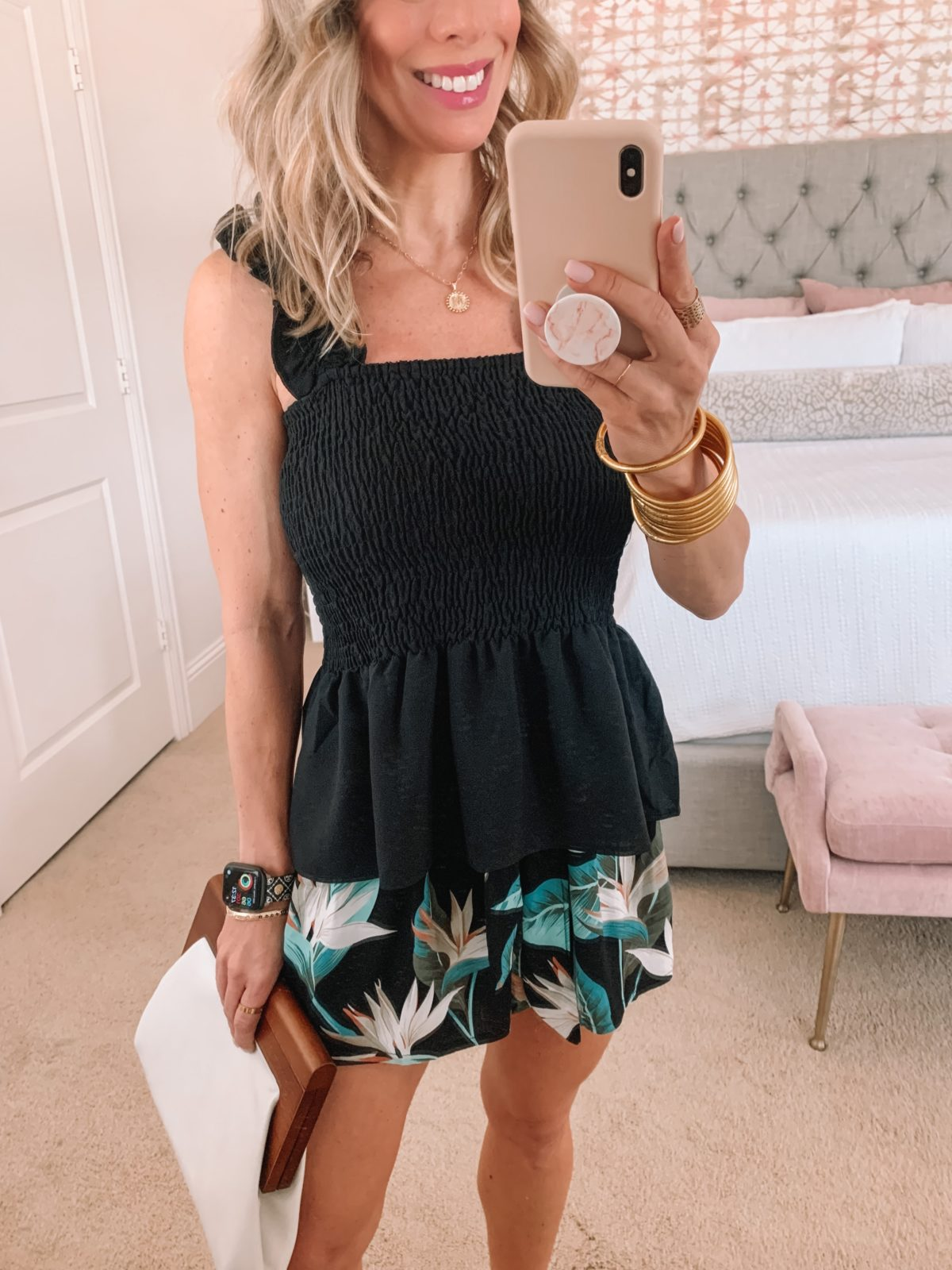 Amazon Fashion Faves, Tank, Island Print Shorts, Sandals and clutch
