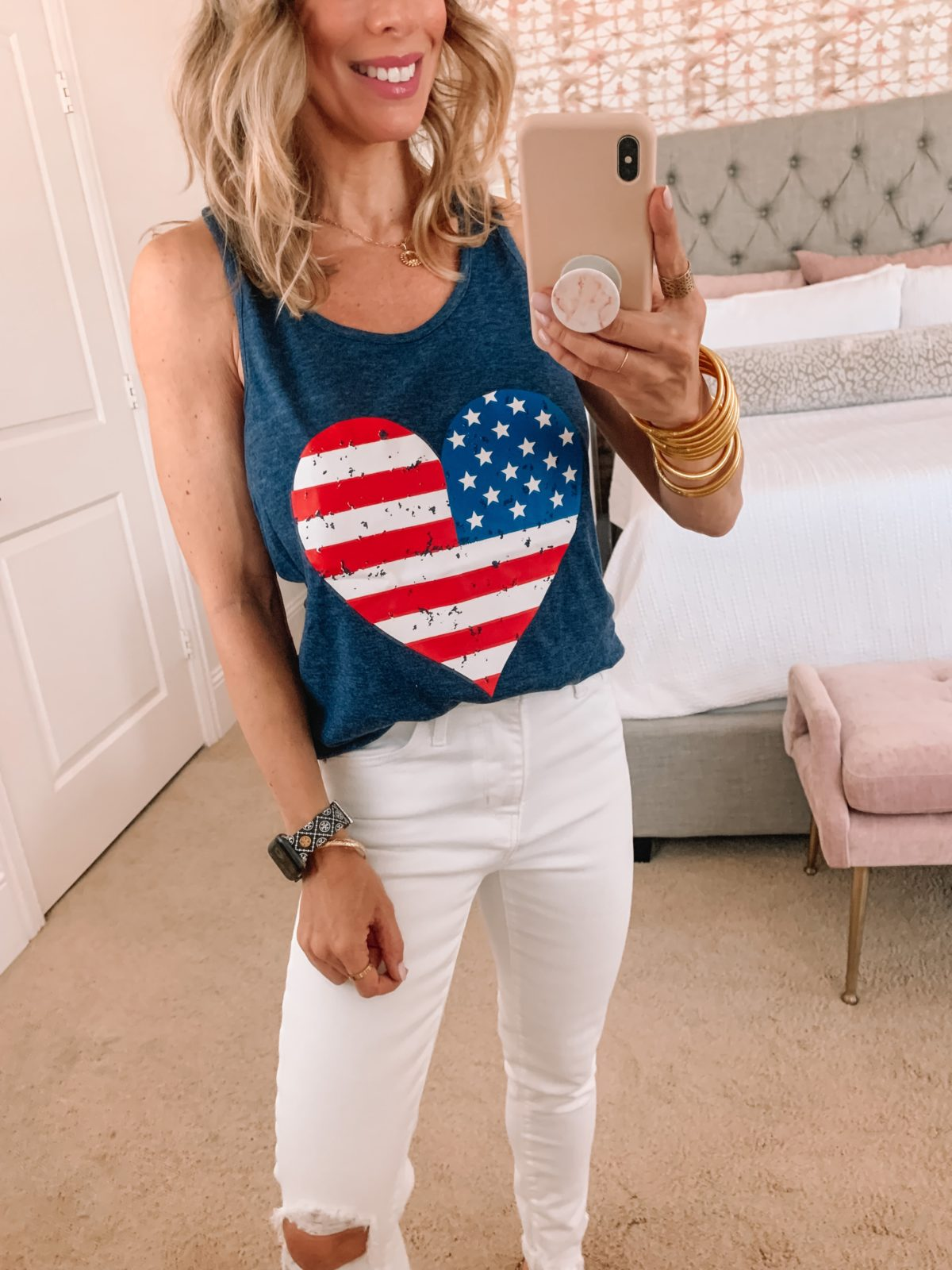 Amazon Fashion Faves, American Tank, White Jeans, Studded Sandals