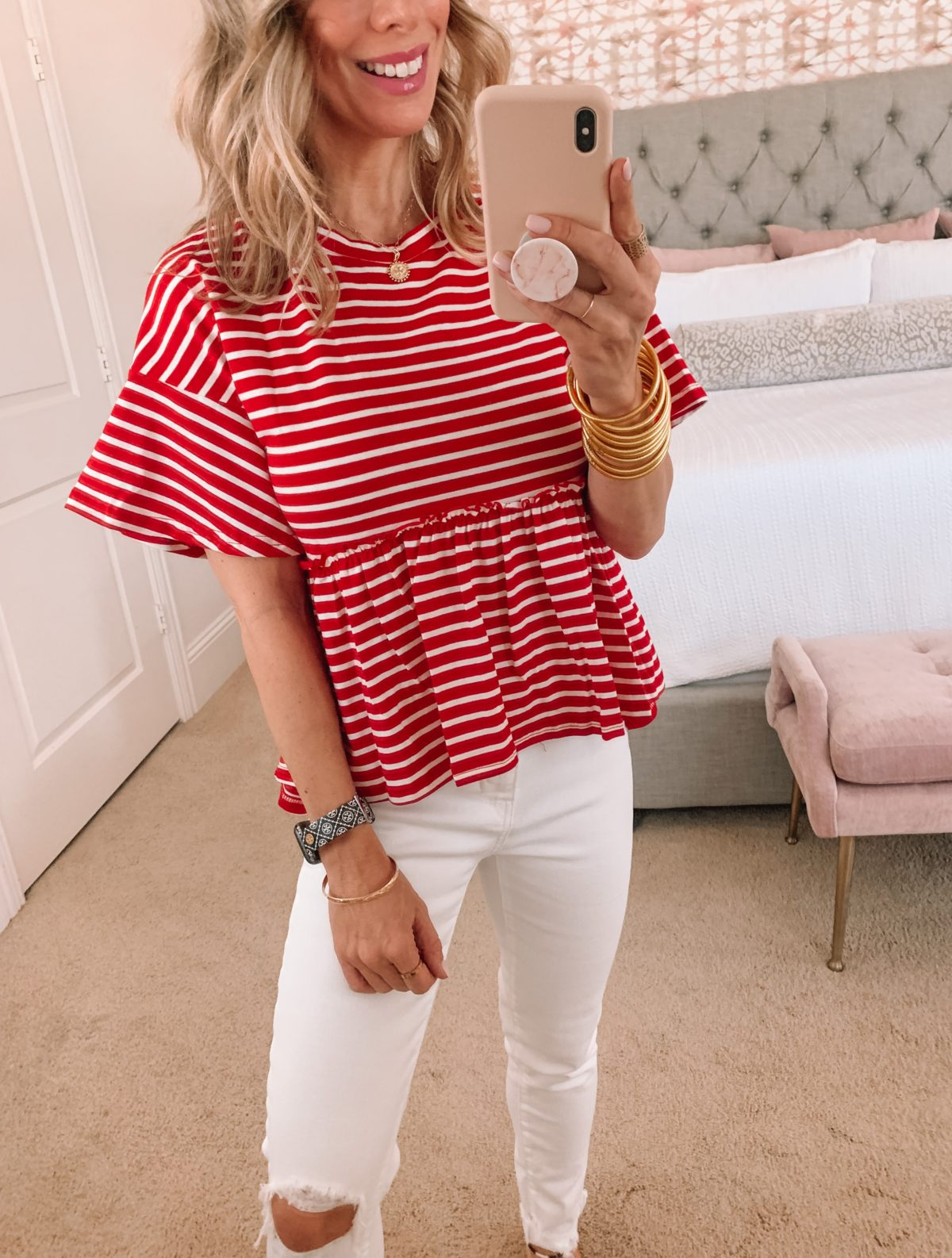 Amazon Fashion Faves, Red Striped Peplum Top and Jeans with slides
