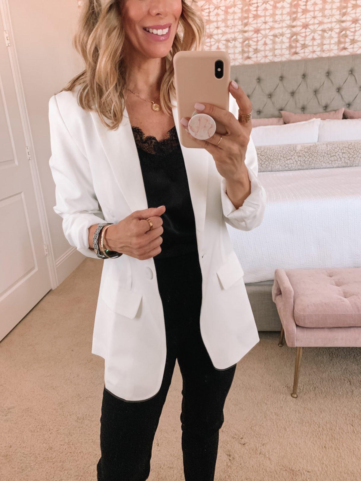 Amazon Fashion Faves, Black Cami, White Blazer, Black Pants, Sandals