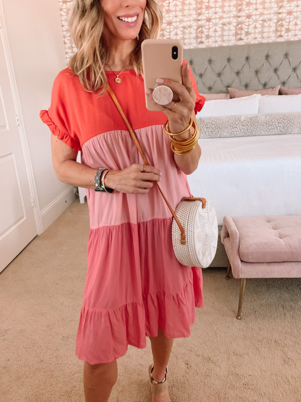 Amazon Fashion Faves, ColorBlock Shift Dress and Wedges with Circle Crossbody
