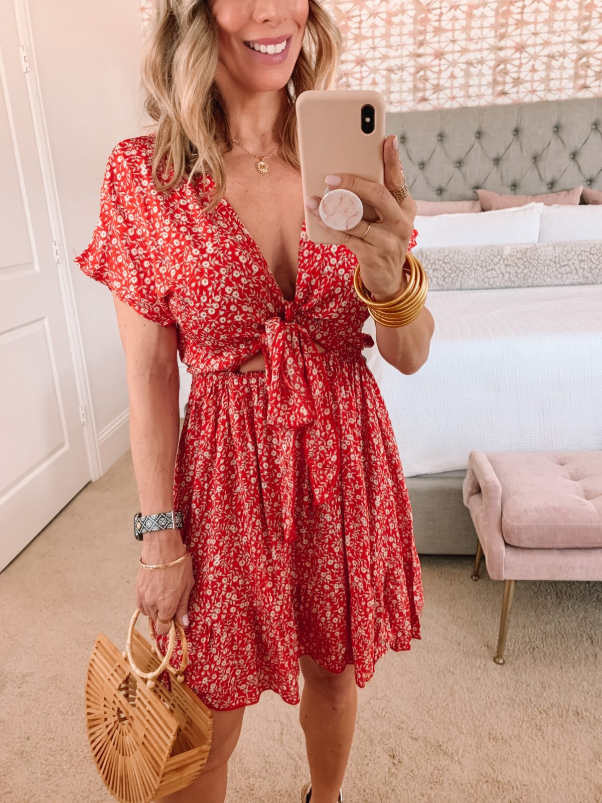 Amazon Fashion Faves Floral Dress with Tie Front, Wedges, Bamboo Clutch