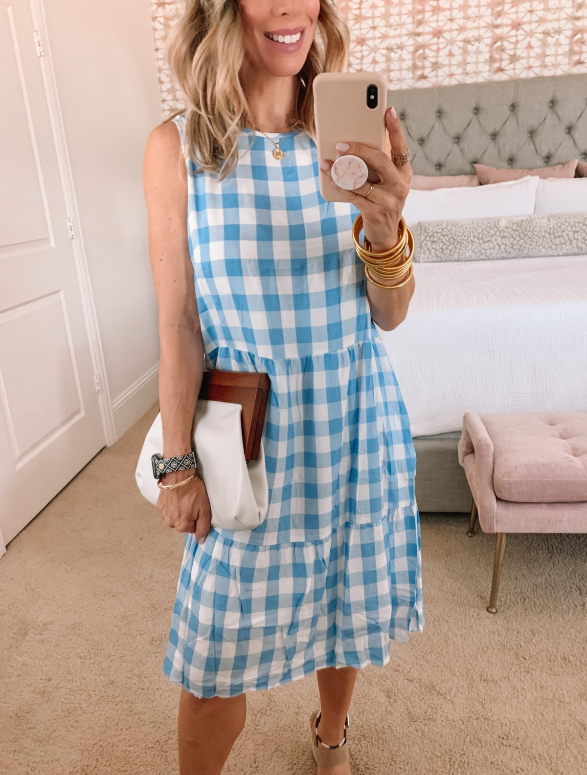Amazon Fashion Faves, Gingham Dress and Wedges and Clutch