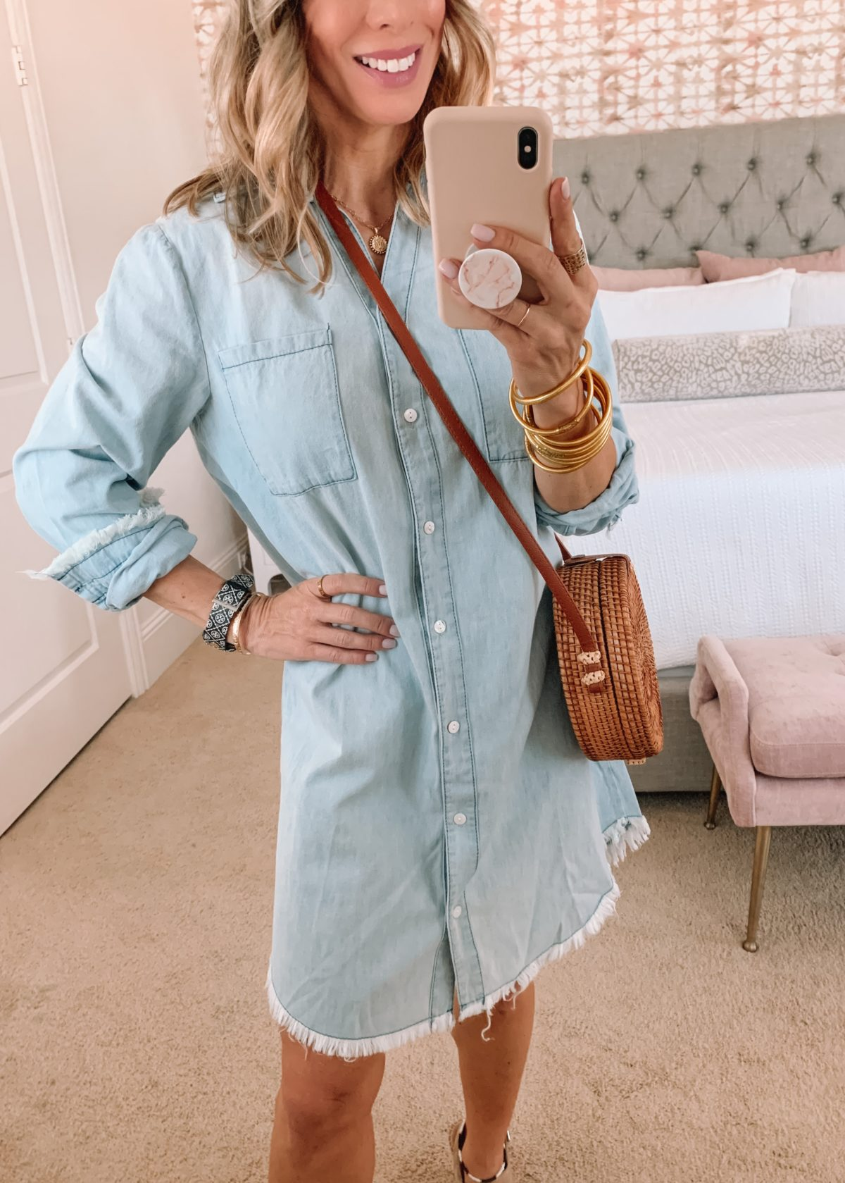 Amazon Fashion Faves, Chambray Dress and Wedges with Crossbody