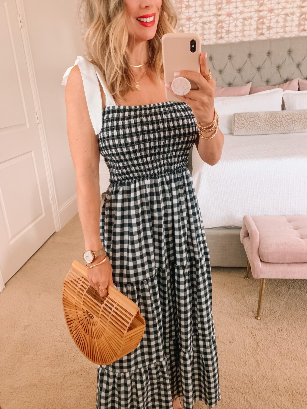 Amazon Fashion Faves, Gingham Dress and Sandals, Bamboo Clutch